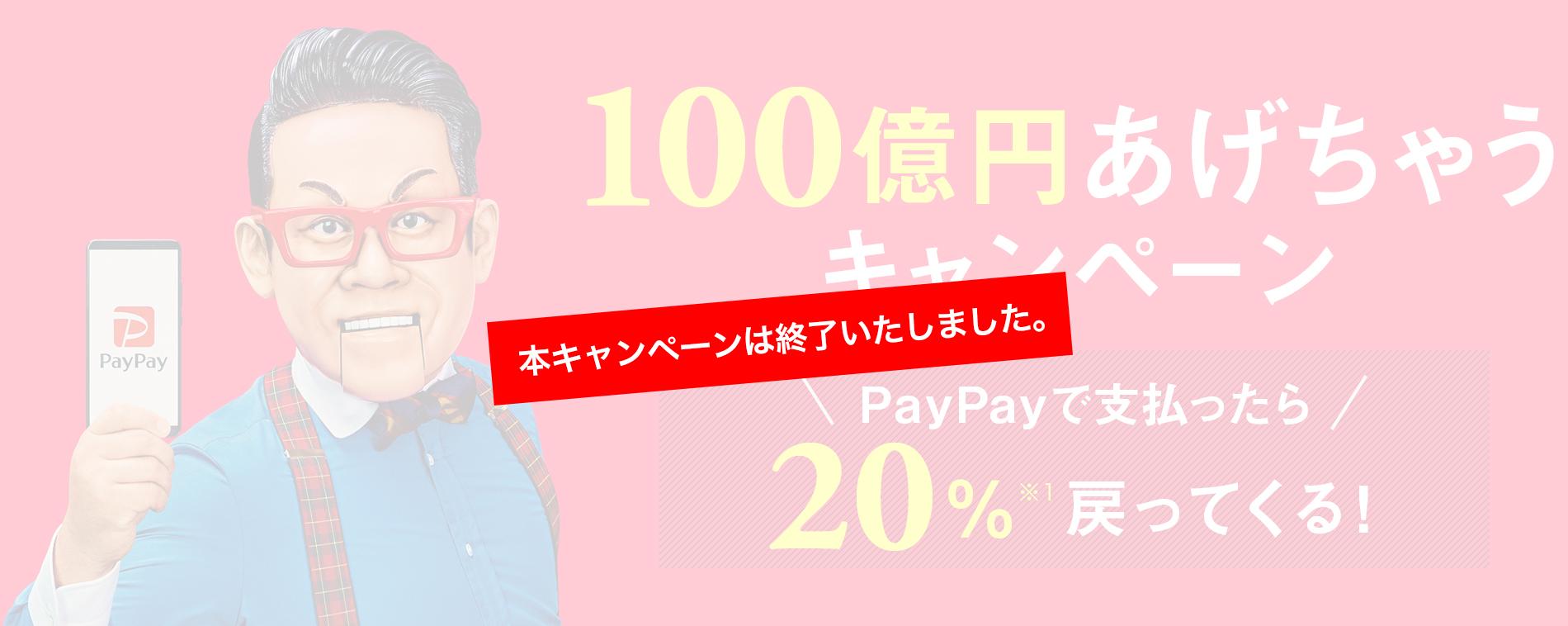100億円あげちゃうキャンペーン PayPayで支払ったら 20%※1戻ってくる!