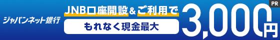 ジャパンネット銀行 JNB口座開設&ご利用でもれなく現金最大3,000円