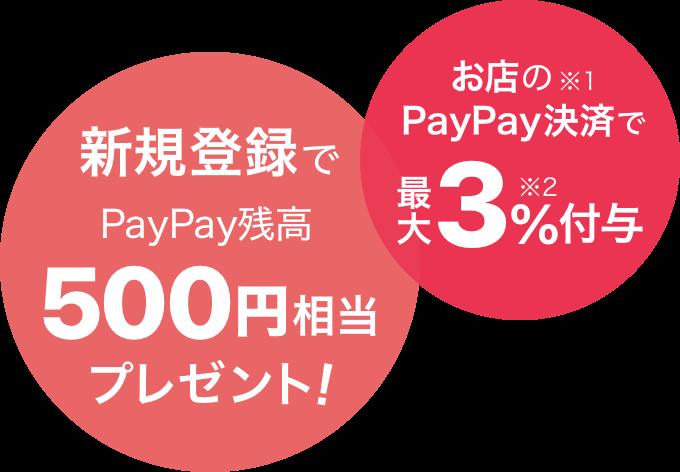 新規登録でPaPay残高500円相当プレゼント! お店の※1PaPay決済で最大3%※2付与