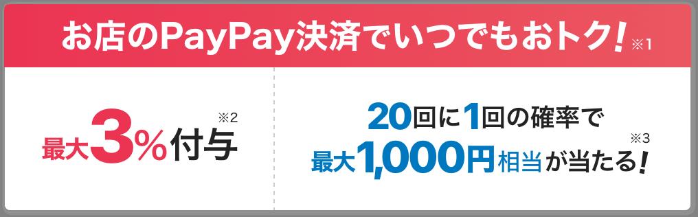 お店のPayPay決済でいつでもお得 ※1 最大3%付与 ※2 20回に1回の確率で最大1,000相当が当たる! ※3