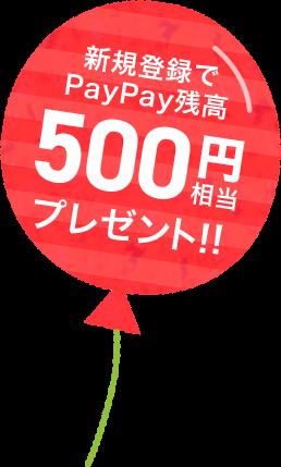 新規登録で500円相当プレゼント